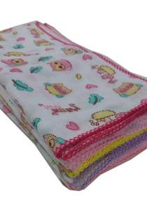 Kit 40 Fraldas De Pano Estampada Algodão Com Crochê Menina