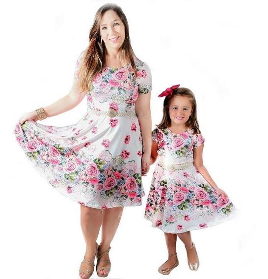 Vestidos Mãe E Filha Godê Manguinha Moda Evangélica