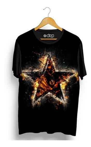 Camiseta Dep Estrela Em Chamas Preta