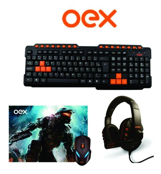 Kit Gamer Oex Teclado Abnt2 + Mouse 6 Botões + Fone Headset