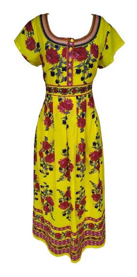 Vestido Longo Indiano Florido Estampado Manga Curta C/ Forro