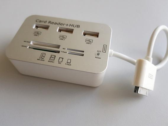 Leitor De Cartão + Hub Usb Knup Hb-t62 Promocao P/ iPad