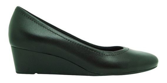 Sapato Usaflex Ad3201 Couro Anabela Hidratante Conforto