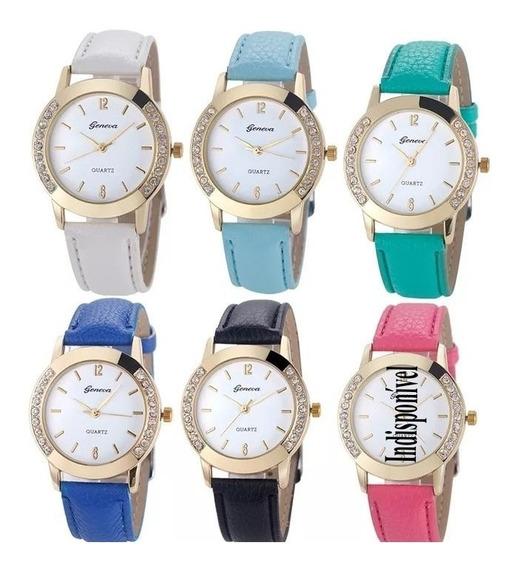 Kit 2 Relógios Luxo Femino Geneva Com Stress Promoção