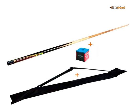 Taco Para Sinuca Snooker Bilhar Rosca 145 Cm + Bolsa + Giz