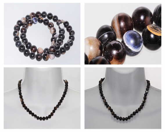 Collar Piedra Natural Dama Mujer Joyería Ágata Negra Ccpn71