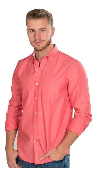 Camisas Hombre Rosa Coral Slim Fit Casual Moda Lisa 90121