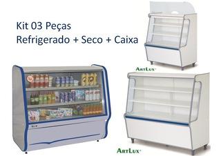 Balcão Refrigerado, Vitrine Seca, Móvel Caixa P/ Comércio, Mercado, Padaria, Lanchonete, Bar, Casa De Frios Kit 03 Peças