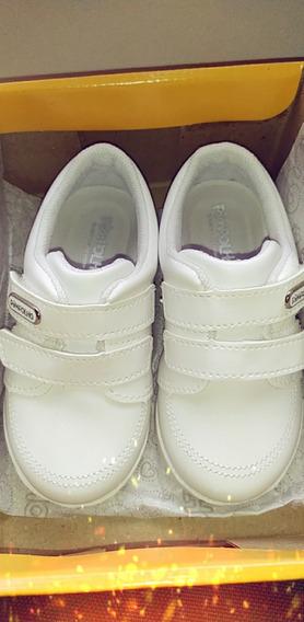 Zapatos Pimpolho Blancos Velcro De Niño