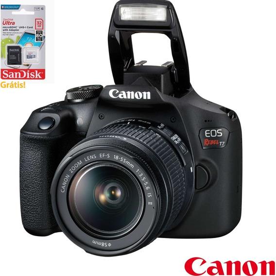 Câmera Digital Canon Eos Rebel T7 Dslr 24.1 Mp Grátis Sd32gb