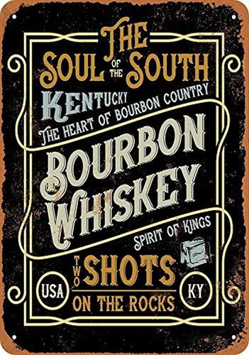 Imagen 1 de 1 de Cartel De Metal, Diseño De Whisky De Kentucky Bourbon