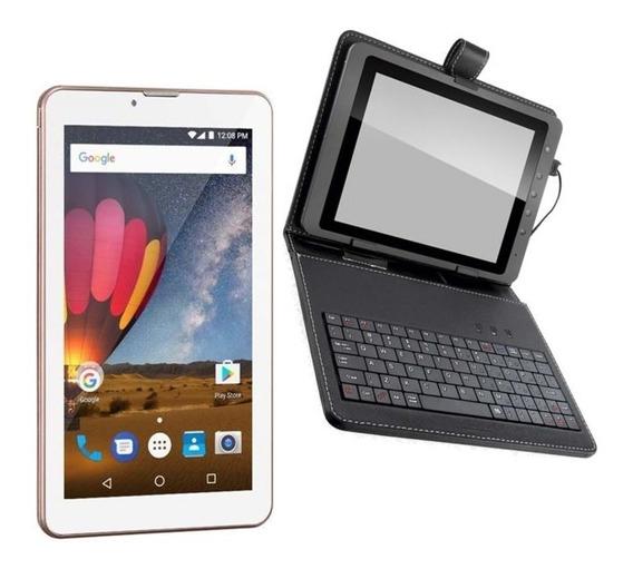 Tablet M7 3g Plus Rosa Celular Whatsapp + Capa Com Teclado