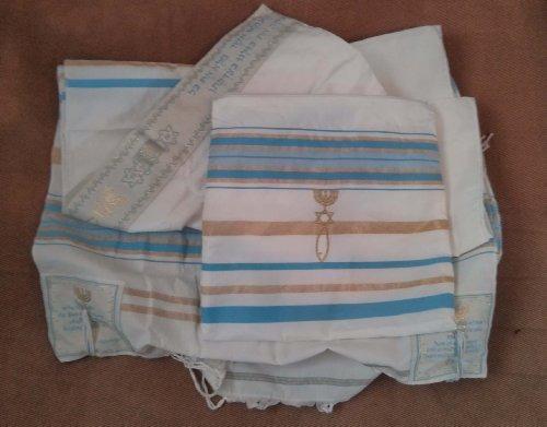 Mesiánico Azul Claro Tallit Talit Chal De Oración 72 X 22