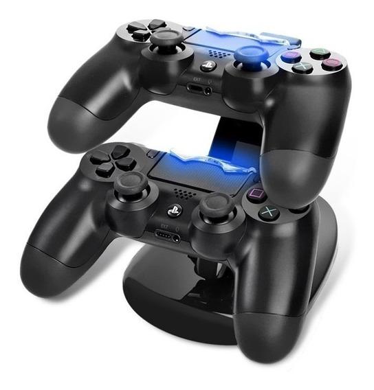 Carregador Duplo Para Controle Ps4 Oivo Leds Azul + Nf