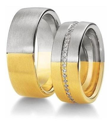 Par Alianças Casamento 7mm Ouro 18k E Prata 950 Luxo Wmjóias