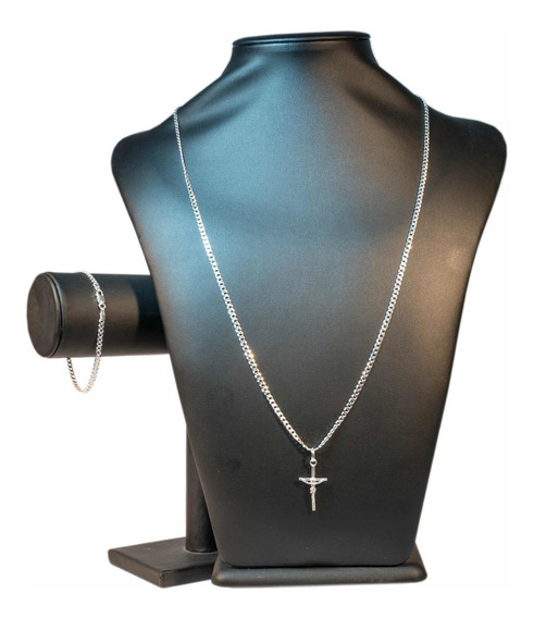 Corrente Fina 3mm + Pulseira 3mm E Crucifixo Luxo De Prata