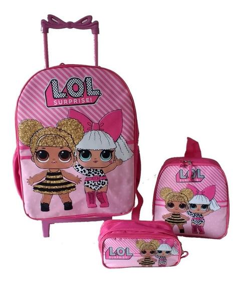 Mochila Escolar Infantil Rodinhas Lol Queen Bee + Diva