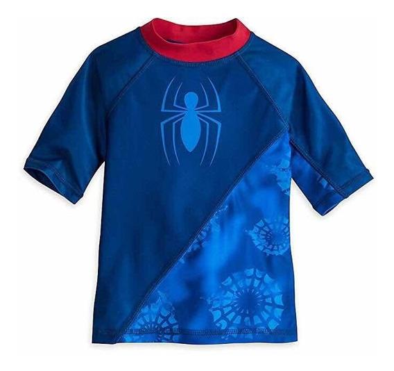 Marvel Spider-man Traje D Baño Camisa Niño Disney Store T7/8