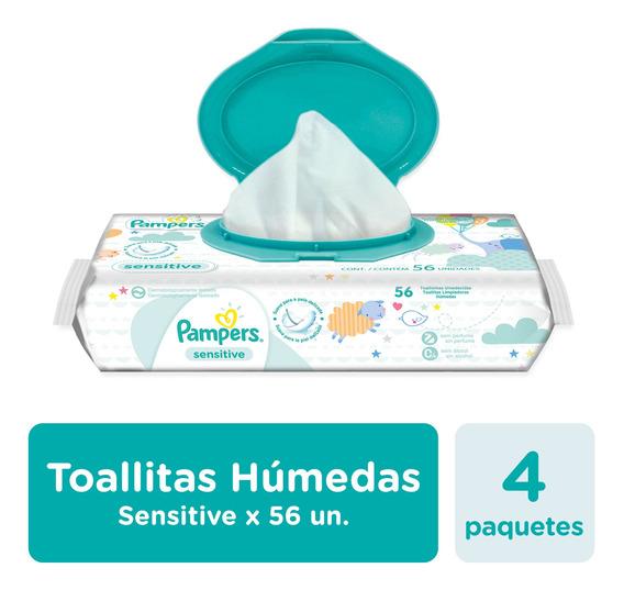 Toallitas Húmedas Pampers Sensitive 56 Unidades - Pack X4