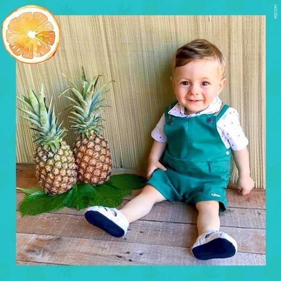 Macacao Jardineira Luxo + Camisa Menino Paraiso Bebe Rf 8372