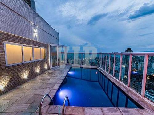 Imagem 1 de 30 de Cobertura Duplex, Alto Padrão, Vista Mar, Varanda Gourmet E Piscina Privativa Em Santos - Ap00420 - 68865520