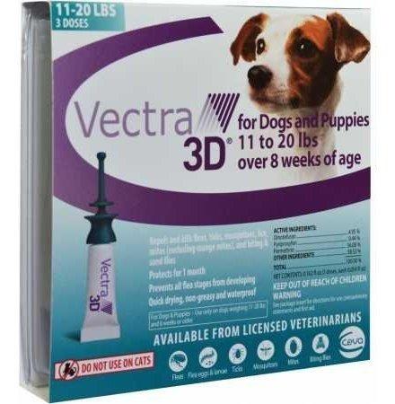 Vectra 3d ® Teal Para Perros Medianos 11  20 Libras 3 Dosis