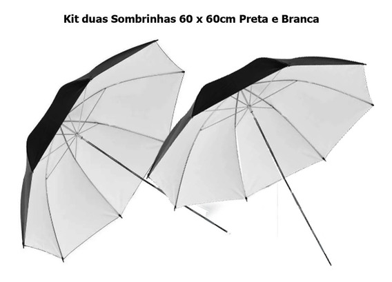 Kit 2 Sombrinhas 60cm Greika Preta E Branca