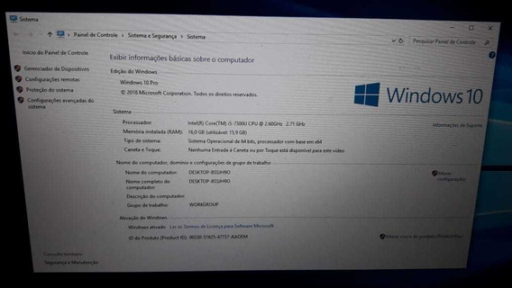 Notebook Probook Hp 16 Gigas Ssd 250 Core I5 7 Geração