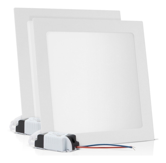 Kit 2 Painel Plafon Embutir 25w Led Branco Frio 6500k Luminária Reator Quadrado