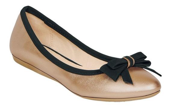 Calzado Zapatos Dama Mujer Flat Dorado Metalico Moda Diario