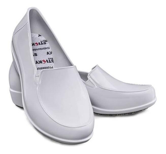 Calçado Antiderrapante Branco Sticky Shoe Social Woman