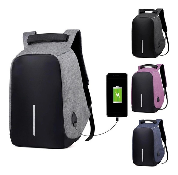 Mochila Antirrobo Backpack Impermeable Puerto Usb + Cable