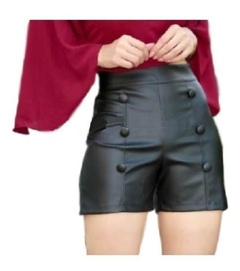 Short Couro Fake Botões Feminino Cintura Alta Blogueira