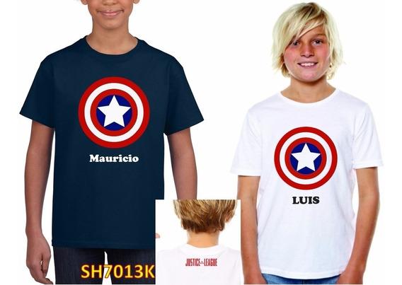 Playera Niño Ó Niña Capitán America Personalizada Nombre