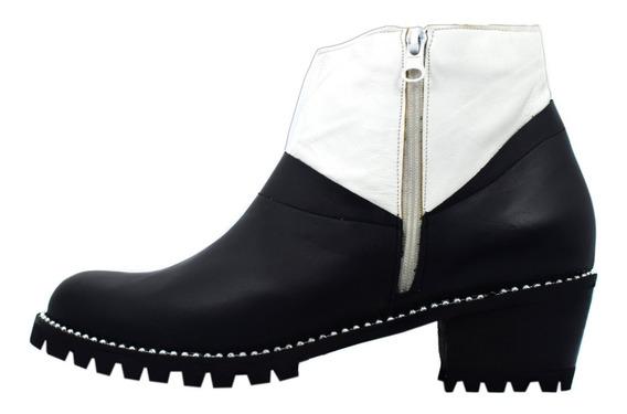 Borcegos Cuero Negro Blanco Vira Perlas Talles Grandes Nº 42