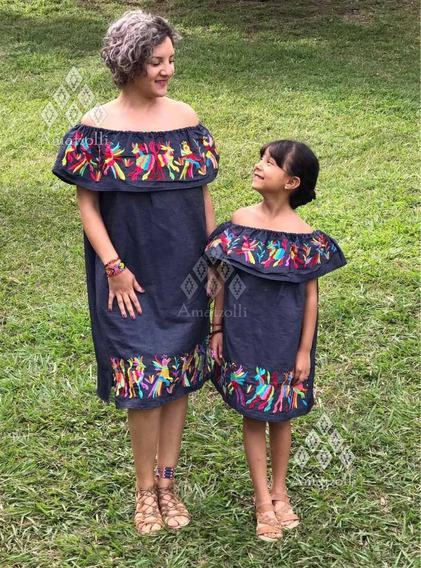 1 Vestido Mamá 2 Vestidos De Niña Artesanal Mexicano Otomí