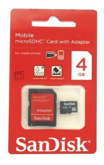 Cartão De Memória Micro Sd 4gb Sandisk Classe 4 C/ Adaptador