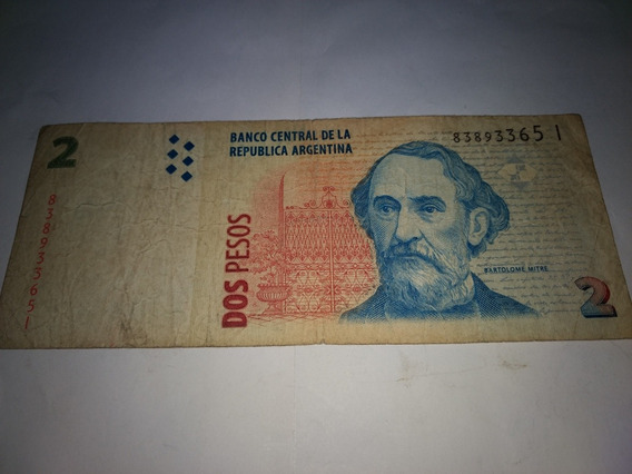 Billete Argentina 2 Pesos Museo Mitre Usado