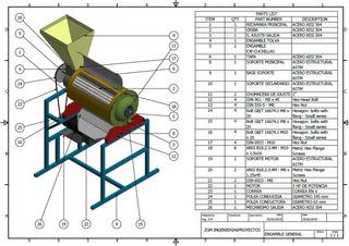 Planos Diseño Despulpadora De Frutas 250 Kg/hora