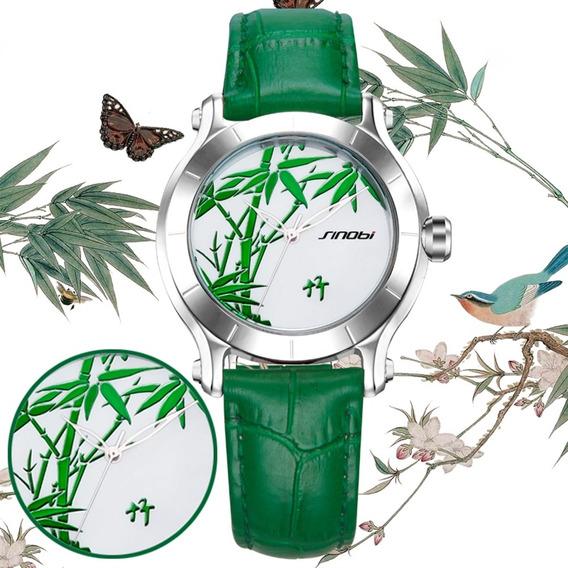 Sinobi 9632 Verde Bambu Mulheres Relógios Pulseira De Couro