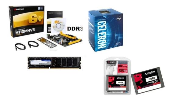 Kit Celeron 1151 G3900 Mb Biostar H110mhv3 4gb Mem Ssd 120g