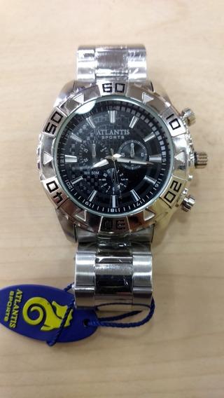 Relógio Atlantis Original Prata Grande Nota E Caixa