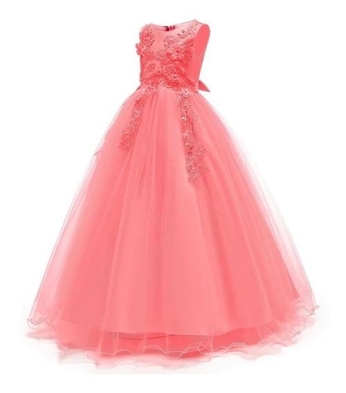 Vestido Niña Fiesta Cumpleaños, De Gala ,/tul/ Rosa Coral
