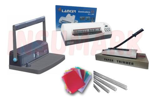 Combo Anilladora + Plastificadora + Guillotina & Materiales