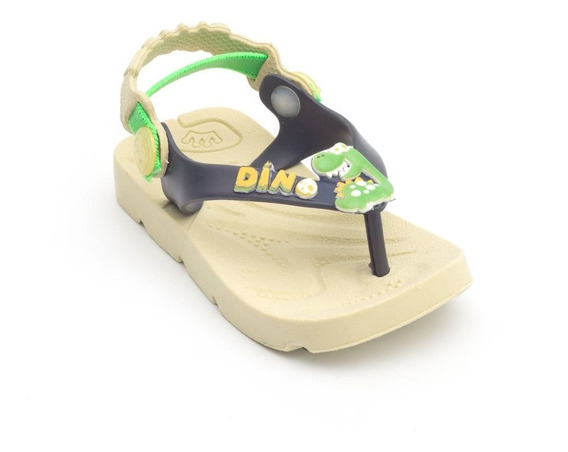 Chinelo Plugt Beach Dinossauro Dino Infantil - Creme