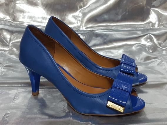 Zapatos Azules Peep Toe Con Moño Vía Uno N°35. Impecables!!
