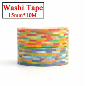 Fita Decorativa Washi Tape Pixel Colorido