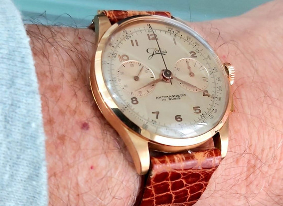 Relogio Vintage Aviation Jolus Chronograph Gold Pink Swiss