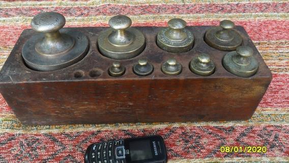 Antiguo Pesero Balanza 8 Pesas 5 Kg. 2, 2, 500, 200 100grs