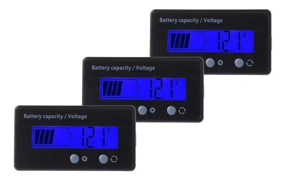 Medidor De Tensão Dc 12v Baterias De Chumbo/lítio - 3 Peças
